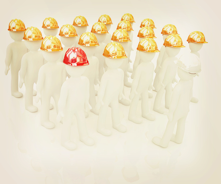 hard hat: 3d mans in a hard hat on a white background. 3D illustration. Vintage style. Stock Photo