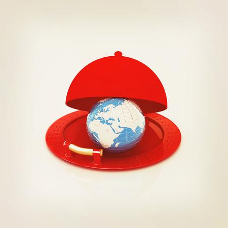 soumis: globe terrestre sur un plat d'argent brillant sous le couvert de la nourriture plus isolé sur blanc. illustration 3D. Style vintage. Banque d'images