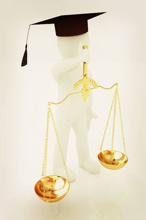 tribunal: 3d man - magistrate with gold scales. Isolated over white . 3D illustration. Vintage style. Stock Photo