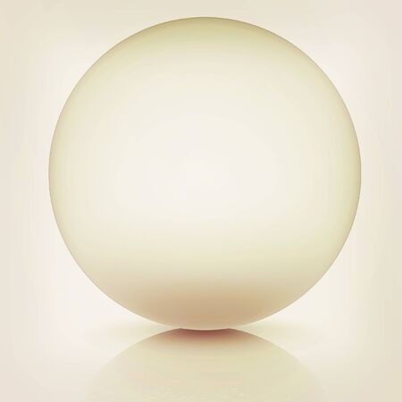 chrome base: Metallic sphere on a white background. 3D illustration. Vintage style.