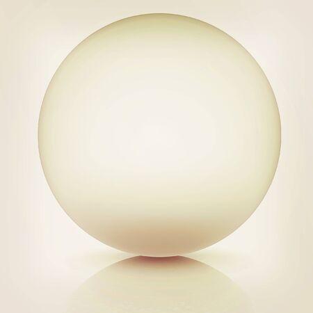 chrome base: Metallic sphere on a white background. 3D illustration. Vintage style.