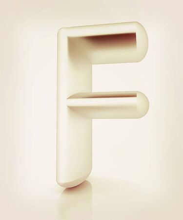 metall: 3D metall letter F isolated on white . 3D illustration. Vintage style.