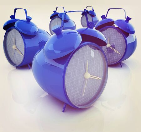 alarm clock 3d illustration isolated on white . 3D illustration. Vintage style.