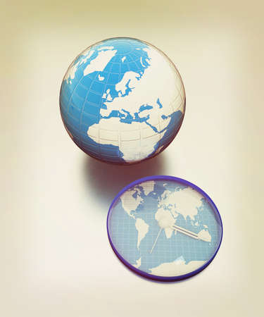 Clock of world map and earth on metallic background. 3D illustration. Vintage style.