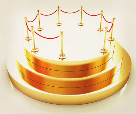 Gold podium 3d on a white background. 3D illustration. Vintage style.