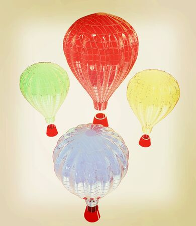 blimp: Hot Air Balloons with Gondola. Colorful Illustration isolated on white Background . 3D illustration. Vintage style.