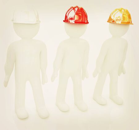 fixer: 3d mans in a hard hat on a white background. 3D illustration. Vintage style. Stock Photo