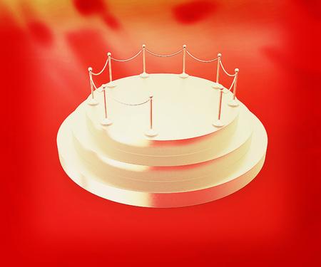 stanchion: 3D podium on red background . 3D illustration. Vintage style.