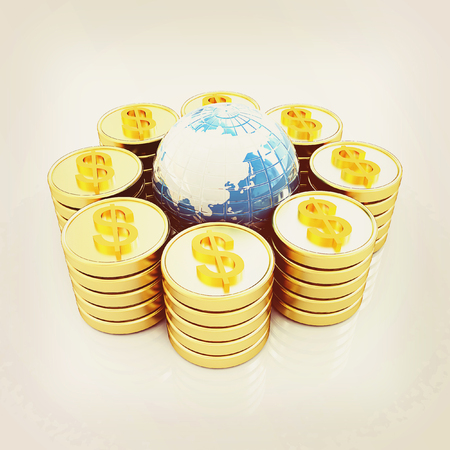 Gold dollar coin stack around the Earth isolated on white . 3D illustration. Vintage style.
