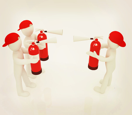 confrontation: 3d mans with red fire extinguisher. The concept of confrontation on a white background. 3D illustration. Vintage style.