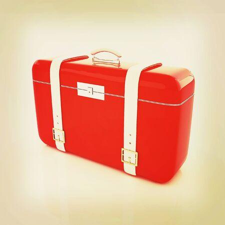 valise: travelers suitcase . 3D illustration. Vintage style.