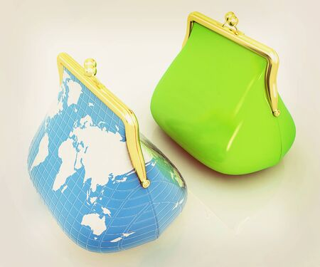 purses: Purse Earth and purses. On-line concept on a white background. 3D illustration. Vintage style.