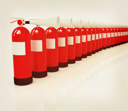 extinguishers: Red fire extinguishers on a white background. 3D illustration. Vintage style.