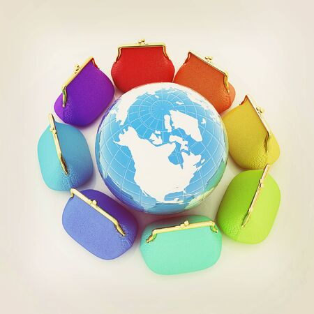 purses: Earth and purses. On-line concept on a white background. 3D illustration. Vintage style.