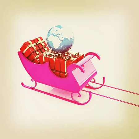 ice slide: Christmas Santa sledge with gifts on a white background . 3D illustration. Vintage style. Stock Photo
