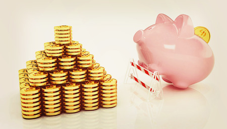 Savings no barriers! on a white background. 3D illustration. Vintage style.