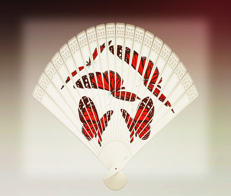 Colorful hand fan isolated on gray . 3D illustration. Vintage style.