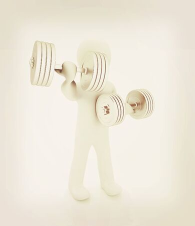 man's: 3d mans with metall dumbbells on a white background. 3D illustration. Vintage style. Stock Photo