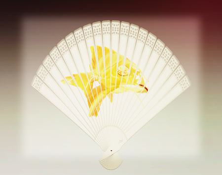chinese fan: Colorful hand fan. Isolated on gray . 3D illustration. Vintage style.