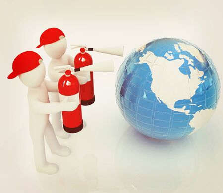 3d mans with red fire extinguisher extinguish earth on a white background. 3D illustration. Vintage style. Stock Photo