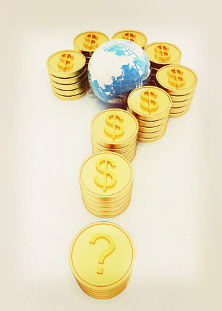 Question mark in the form of gold coins with dollar sign on a white background. 3D illustration. Vintage style.