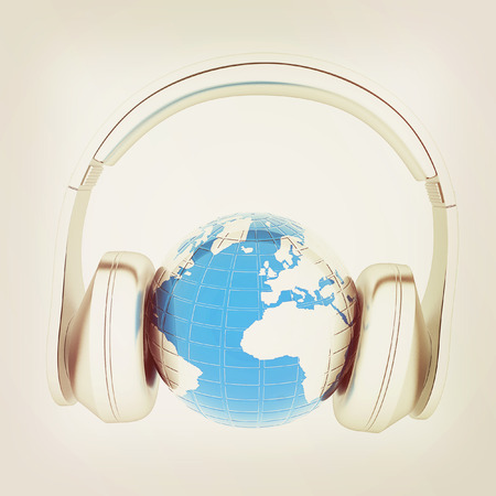 music 3d: abstract 3d illustration of earth listening music . 3D illustration. Vintage style.