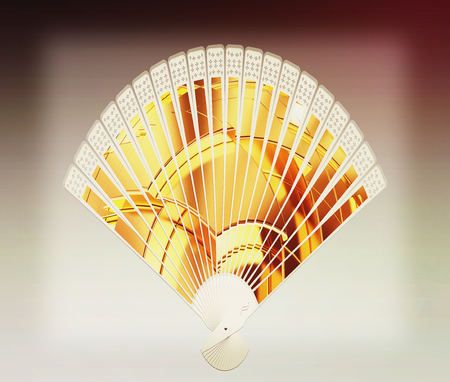 metallic stairs: Colorful hand fan isolated on gray . 3D illustration. Vintage style.