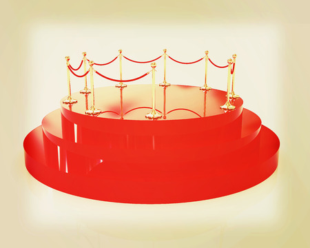 handrail: 3D glossy podium with gold handrail on a white background. 3D illustration. Vintage style.