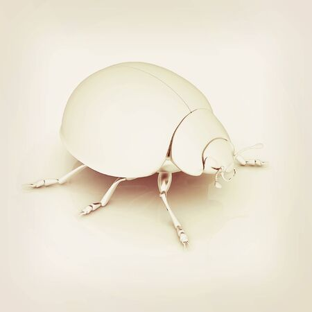 metall: Metall beetle on a white background. 3D illustration. Vintage style.