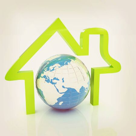 habitable: 3d green icon house, earth on white background . 3D illustration. Vintage style.
