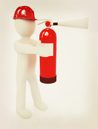 3d man in hardhat with red fire extinguisher on a white background. 3D illustration. Vintage style.