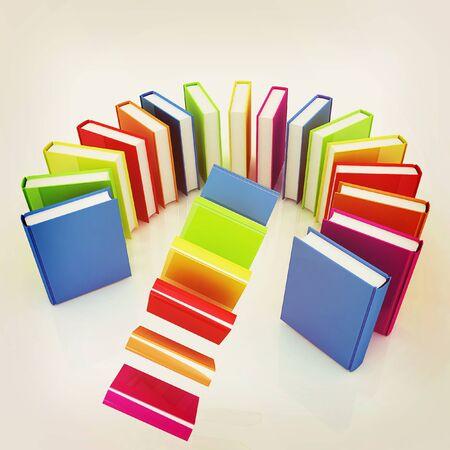 libros volando: libros de colores que vuelan sobre un fondo blanco. Ilustraci�n 3D. Estilo vintage. Foto de archivo