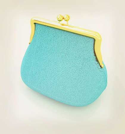 Leather purse on a white background. 3D illustration. Vintage style. Banco de Imagens