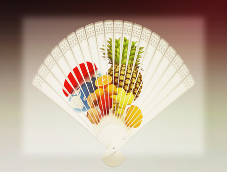 Colorful hand fan. Isolated on gray . 3D illustration. Vintage style.