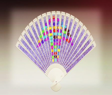 Colorful hand fan isolated on gray. 3D illustration. Vintage style.