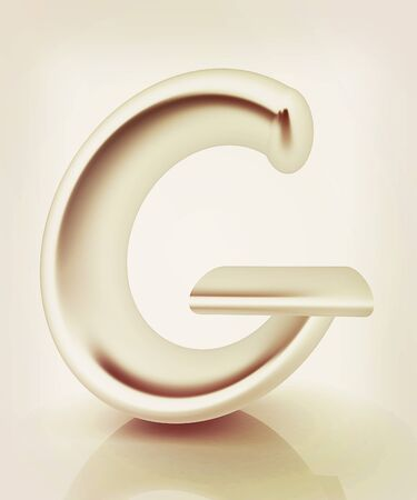 metall: 3D metall letter G isolated on white . 3D illustration. Vintage style. Stock Photo