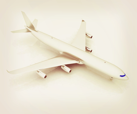 Airplane on a white background. 3D illustration. Vintage style.