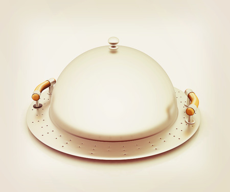 restaurant cloche. 3D illustration. Vintage style. Stock Photo