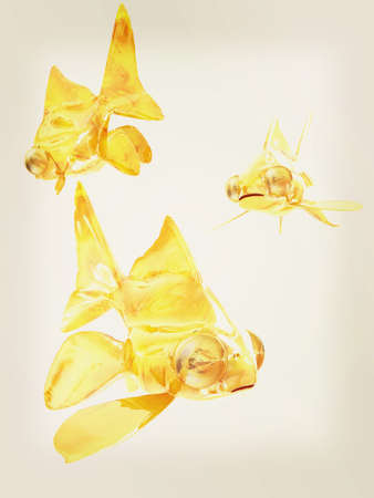 Gold fishes. Isolation on a white background . 3D illustration. Vintage style.