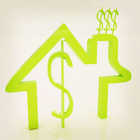 expenditure: Household Expenditure icon. 3D illustration. Vintage style.