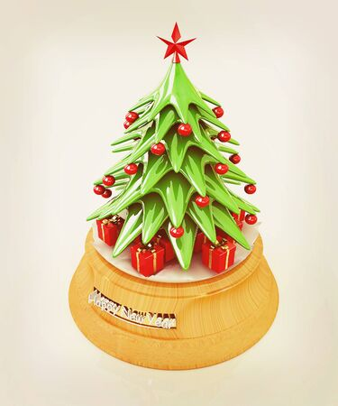 Christmas tree and gifts on a white background. 3D illustration. Vintage style. Stock Photo