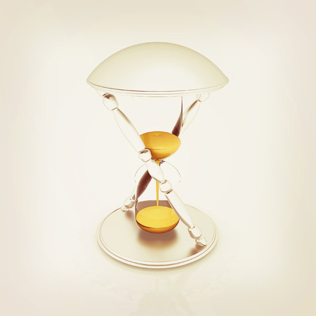 Transparent hourglass isolated on white background. Sand clock icon 3d illustration. . 3D illustration. Vintage style.