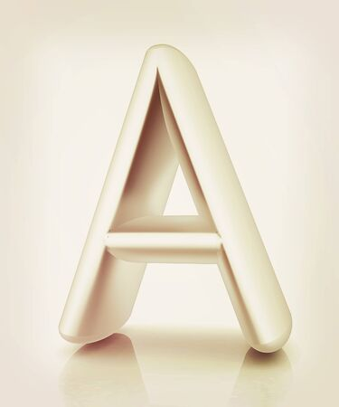 letras cromadas: 3D metall letter A isolated on white . 3D illustration. Vintage style. Foto de archivo