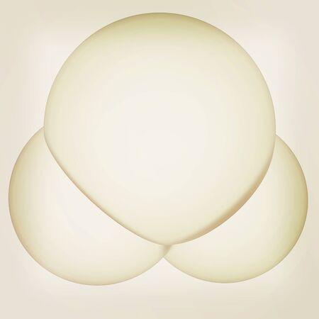 water molecule: 3d ilustraci�n de una mol�cula de agua aisladas sobre fondo blanco. Ilustraci�n 3D. Estilo vintage.