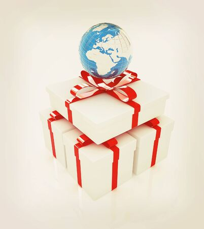 earth for gift on a white background . 3D illustration. Vintage style.