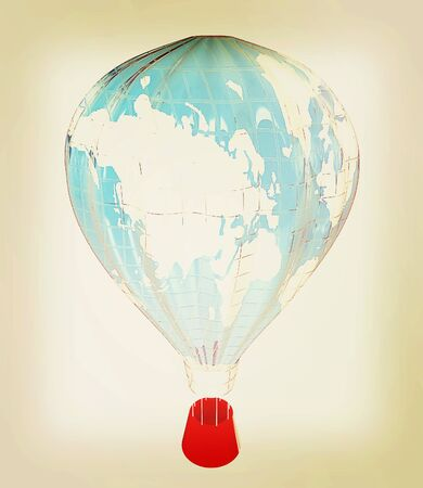 blimp: Hot Air Balloons as the earth with Gondola. Colorful Illustration isolated on white Background . 3D illustration. Vintage style.