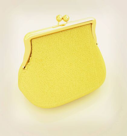 Leather purse on a white background. 3D illustration. Vintage style. Stock Photo