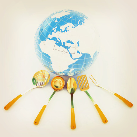 cutlery on white background around Earth. 3D illustration. Vintage style.