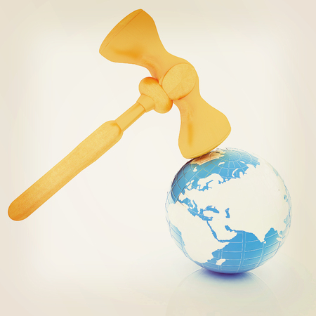 map case: Wooden gavel and earth isolated on white background. Global auction concept. 3D illustration. Vintage style.