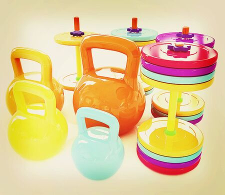 Colorful weights and dumbbells on a white background. 3D illustration. Vintage style.